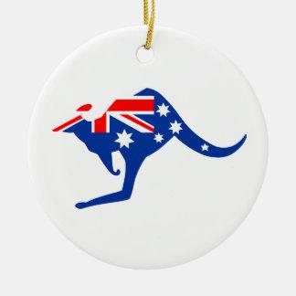 Australian Kangaroo Round Ceramic Decoration