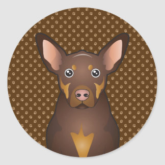 Australian Kelpie Dog Cartoon Paws Classic Round Sticker