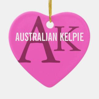 Australian Kelpie Monogram Ceramic Heart Decoration