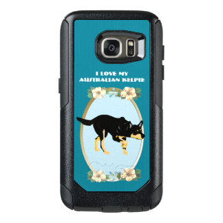 Australian Kelpie on Teal Floral OtterBox Samsung Galaxy S7 Case