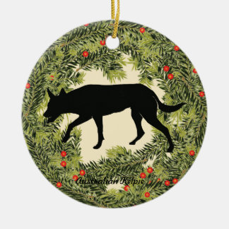 Australian Kelpie Wreath Christmas Ornament