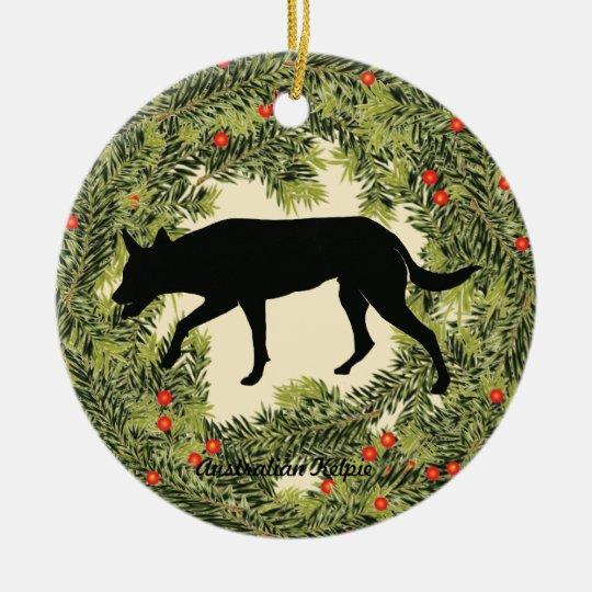 Australian Kelpie Wreath Christmas Ornament