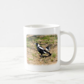 Australian Magpie being mobbed by Willie Wagtail 9 Coffee Mug