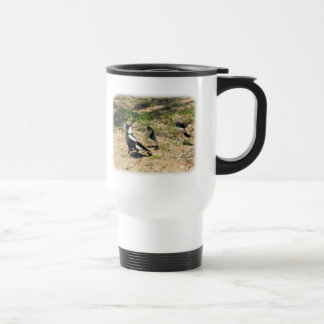 Australian Magpie mobbed by Willie Wagtails 9P28D- Travel Mug