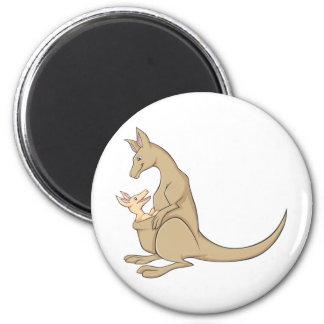 Australian Mama Kangaroo and Baby Joey 6 Cm Round Magnet