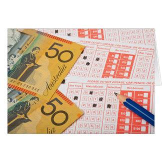 Australian money and sports betting slip greeting card