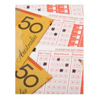 Australian money and sports betting slip postcards