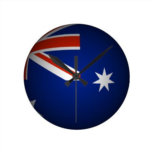 Australian national flag sphere, 3D look Round Clocks