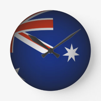 Australian national flag sphere, 3D look Round Clock