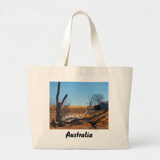 Australian outback landscape large tote bag
