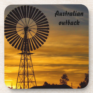 Australian outback windmill sunset coaster set