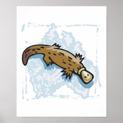 australian platypus design poster