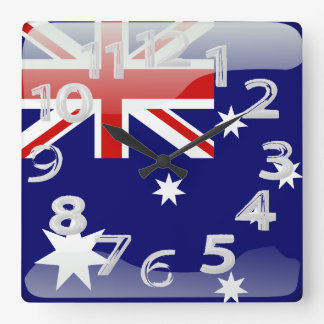 Australian polished flag square wall clock