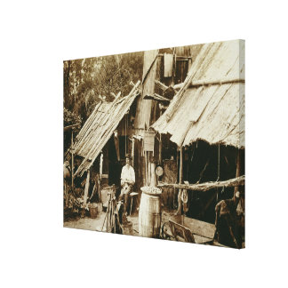 Australian prospector, c.1880s (sepia photo) stretched canvas print