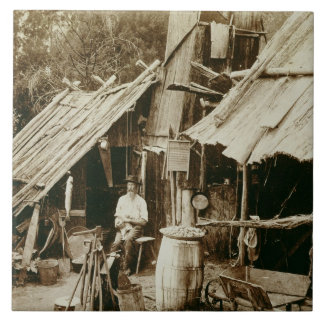 Australian prospector, c.1880s (sepia photo) large square tile