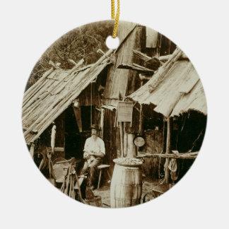 Australian prospector, c.1880s (sepia photo) round ceramic decoration