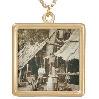 Australian prospector, c.1880s (sepia photo) square pendant necklace
