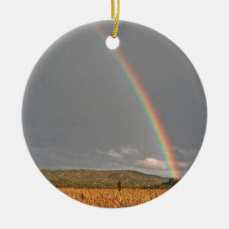 Australian rainbow over the Gold Coast Round Ceramic Decoration