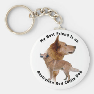 Australian Red Cattle dog Basic Round Button Key Ring
