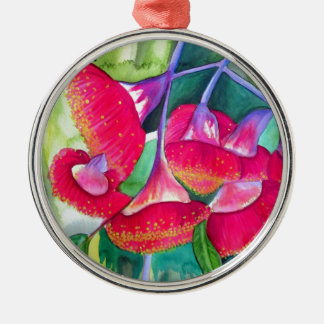 Australian red flowering gumnuts watercolor art christmas ornament