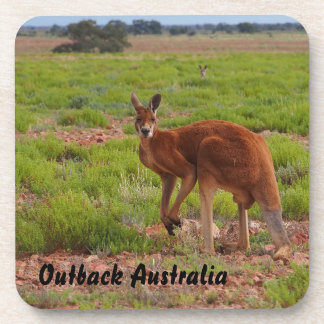 Australian red kangaroo drink coaster set
