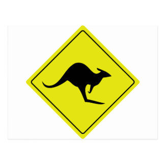 australian roadsign kangaroo australia postcard
