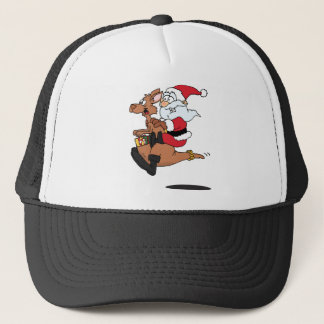 Australian Santa riding a Christmas kangaroo Trucker Hat