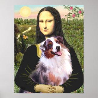 Australian Shephard (merle) & Mona Lisa Print