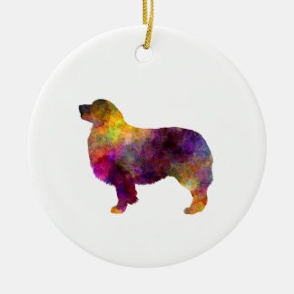 Australian Shepherd 01 in watercolor 2 Round Ceramic Decoration
