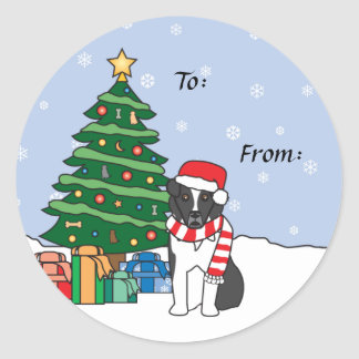 Australian Shepherd and Christmas Tree Classic Round Sticker
