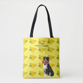 Australian Shepherd and Yellow Roses Tote Bag