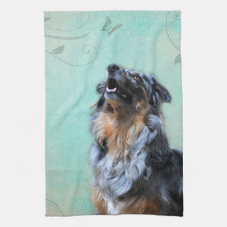 Australian Shepherd Artistic Photo Kitchen Towel