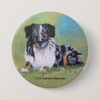 Australian Shepherd, beautiful blue merle! 7.5 Cm Round Badge