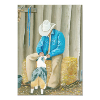 "Australian Shepherd ""Best Buddies"" Painting Art Photo"