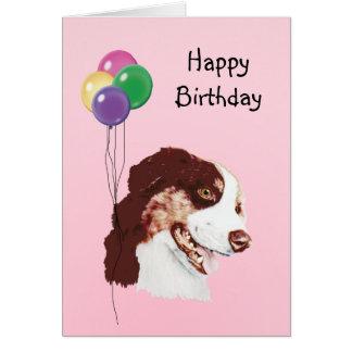 Australian Shepherd, Birthday Balloons Card