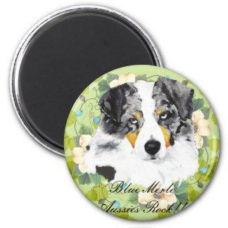 Australian Shepherd - Blue Merle Aussies Rock!! 6 Cm Round Magnet