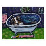 Australian Shepherd blue merle takes bath Poster