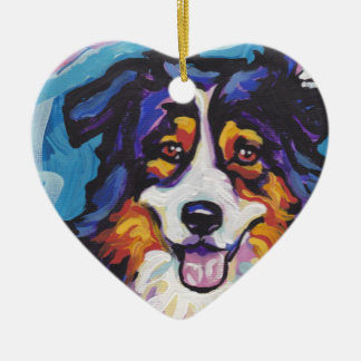 Australian shepherd Bright Colorful Pop Dog Art Christmas Ornament