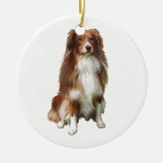 Australian Shepherd (C) - Red-white Christmas Ornament