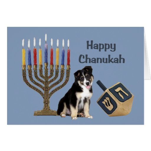 Australian Shepherd Chanukah Card Menorah Dreidel