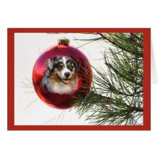 Australian Shepherd Christmas Card Ball Hanging