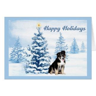 Australian Shepherd Christmas Card Blue Tree