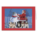 Australian Shepherd Christmas Card Santa and Snowm
