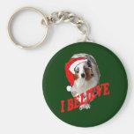 Australian shepherd Christmas Keychain