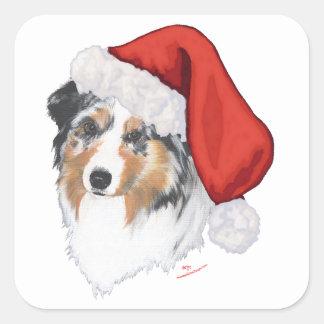 Australian Shepherd Christmas Square Sticker