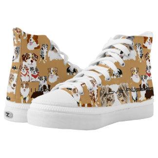 Australian Shepherd Collage Custom High Top Shoe Printed Shoes
