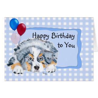 Australian Shepherd Custom Happy Birthday Card