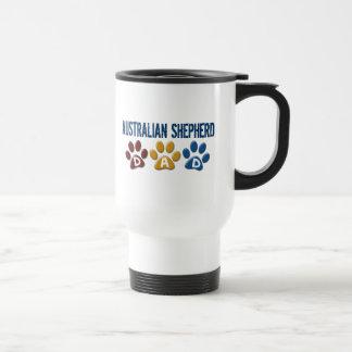 AUSTRALIAN SHEPHERD DAD Paw Print Stainless Steel Travel Mug