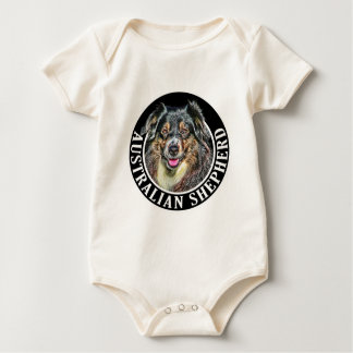 Australian Shepherd Dog 002 Baby Bodysuit