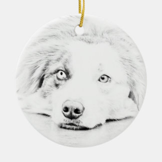 Australian Shepherd dog art Christmas Ornament